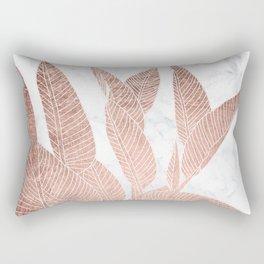 Modern faux Rose gold leaf tropical white marble illustration Rectangular Pillow