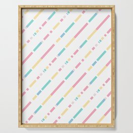 Soft colors diagonally cutted stripes pattern Serving Tray