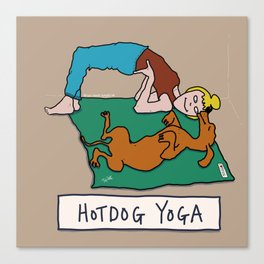 Hotdog Yoga Canvas Print
