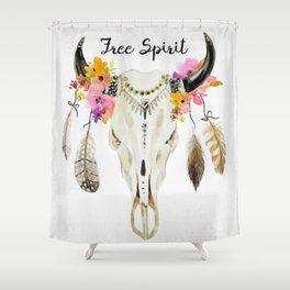 free spirit- tribal skull Shower Curtain