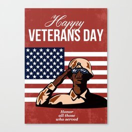 Veterans Day Greeting Card American Canvas Print