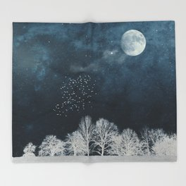 Night in Blue and White Throw Blanket