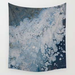 Frozen Waters Acrylic Pour Vector Wall Tapestry