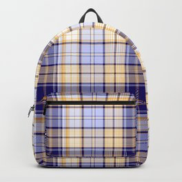 in yellow and blue plaid Backpack
