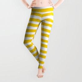 Yellow And White Horizontal Stripes Leggings