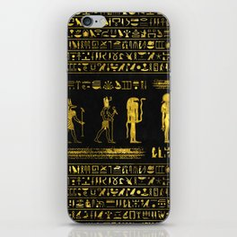 Golden Egyptian Gods and hieroglyphics on leather iPhone Skin