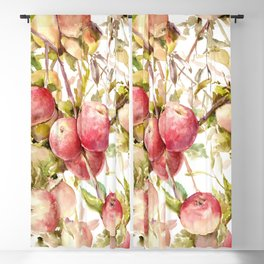 Apple Tree, kitchen design red olive green kitchen fruits Blackout Curtain