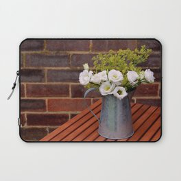Pitcher of white gentian flowers Laptop Sleeve