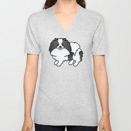 Black Parti-Color Pomeranian Dog Cute Cartoon Illustration Unisex V-Neck