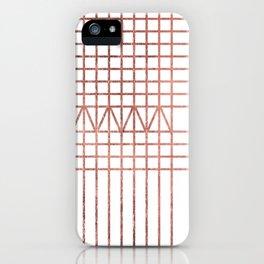 Elegant modern white faux rose gold geometrical lines iPhone Case