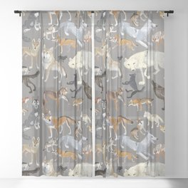 Wolves of the world 1 Sheer Curtain