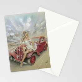 Girl and Classic Car - Vintage Stationery Cards