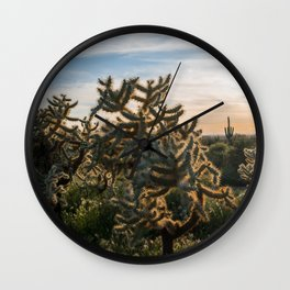 Cactus at Sunset Wall Clock