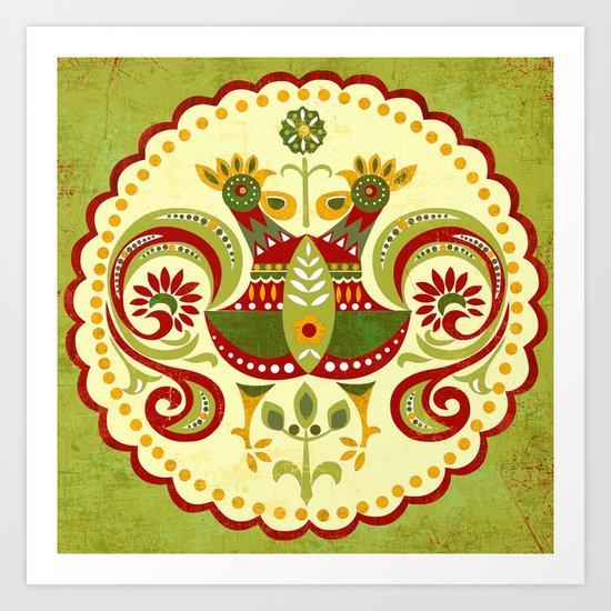 Folklore Mandala Art Print