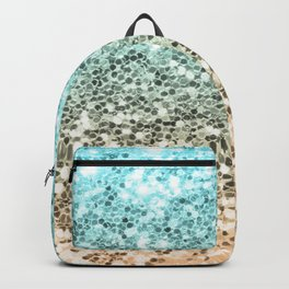 Ombre Mermaid Sparkly Glitters Colorful Blue Gold Cute Girly Backpack