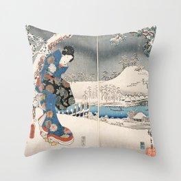 Japanese Vintage Kunisada Hiroshige Snowy Landscape Throw Pillow
