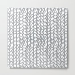 Knit Wave Grey Metal Print