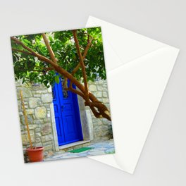 blue door in bodrum Stationery Cards