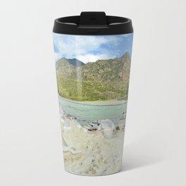 sandy beach on the river Katun, Altai Mountains, Siberia, Russia Travel Mug