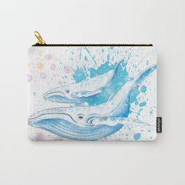 Blue Whales Splash Watercolor Carry-All Pouch