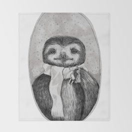 Chill Sloth Smoking a Joint Throw Blanket