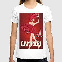 Classic Red Campari Girl with Fans Alcoholic Aperitif Vintage Advertising Poster T-shirt