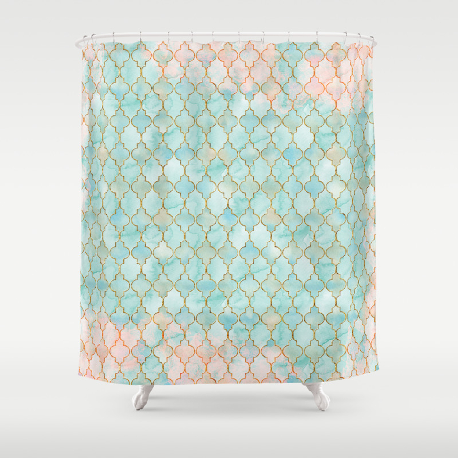 Luxury Aqua And Pink And Gold Oriental Pattern Shower Curtain