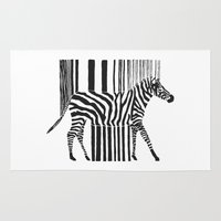 code Area & Throw Rugs featuring Zebra Code by Lilian