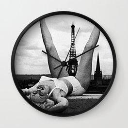 Retro Woman in Vintage Paris Wall Clock