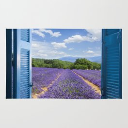 wooden shutters, lavender field Rug