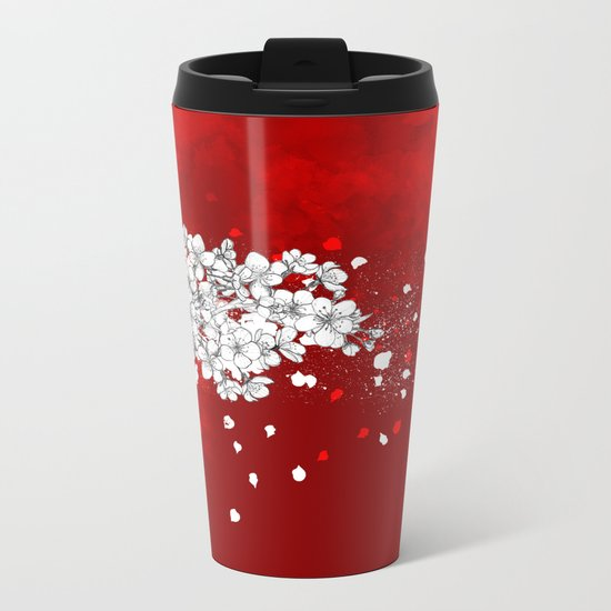 Red skies and white sakuras Metal Travel Mug