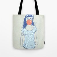 pin up Tote Bags featuring pin up by Balazs Solti