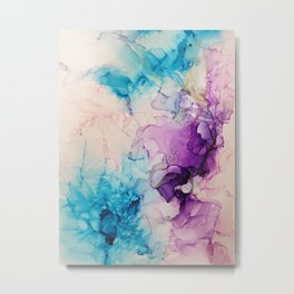 Abstract flowers Blue Purple Pink Metal Print
