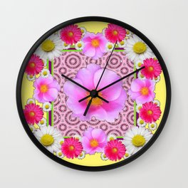 Floral Abundance yellow color fuchsia Shasta Daisy Pink Roses Abstract Ar Wall Clock