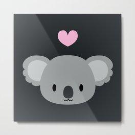 Cute koalas and pink hearts Metal Print