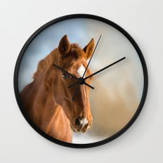 Brown Horse Winter Sky Wall Clock