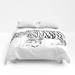 Tiger - black and white vector Comforters