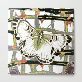 #2 PURPLE-WHITE MOTHS  ON BLACKTHORN LATTICE BRANCHES ART Metal Print