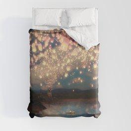 Love Wish Lanterns Duvet Cover