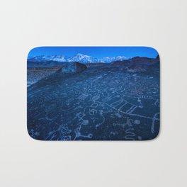 Sunrise On Sky Rock Petroglyph And Sierra Nevada Mountains Bath Mat