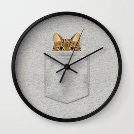Pocket Tabby Cat Wall Clock