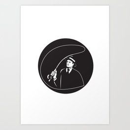 Mobster Suit Tie Casting Fly Rod Circle Retro Art Print