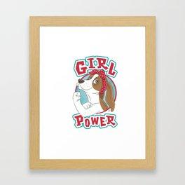 Basset Hound Girl Power Framed Art Print