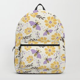 Honey Bees and Flowers - Yellow and Lavender Purple Backpack