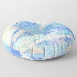 Blue Ice Mountains :: Fine Art Collage Floor Pillow