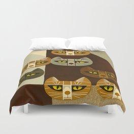 Cat Pattern Japanese, Cat, Cubism, Woodblock Print, Cherry Blossom, Midcentury, Modern Duvet Cover