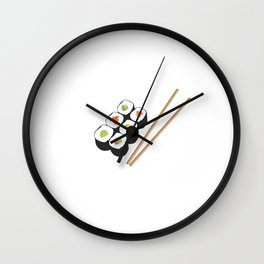 Sushi rolls with chopsticks Wall Clock