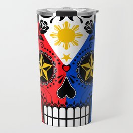 Sugar Skull with Roses and Flag of Philippines Travel Mug