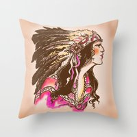 oklahoma Throw Pillows featuring Oklahoma  by Hollyce Jeffriess Designs