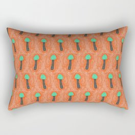 green mushroom with colorful stem floating in orange colored drawing by cecilia lee Rectangular Pillow